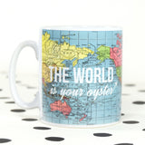 'World is Your Oyster' Map Mug