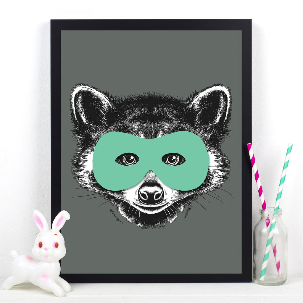 Superhero Raccoon Childrens Poster-A4 Print-Of Life & Lemons®