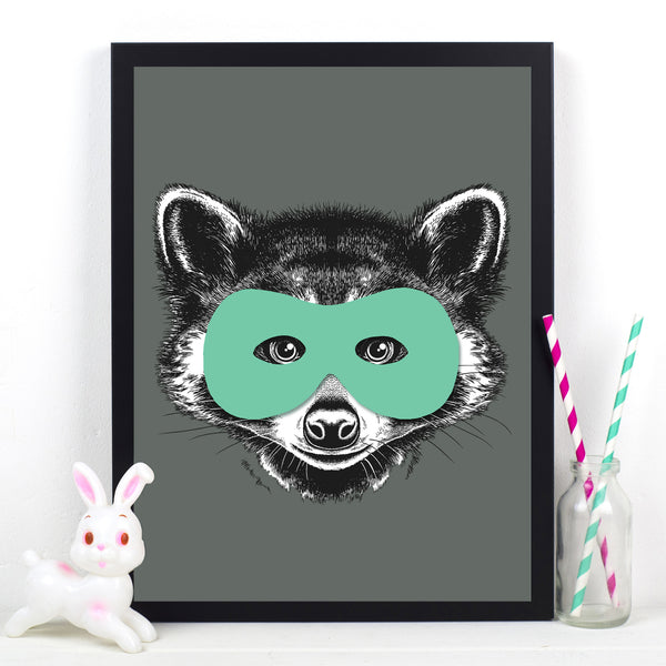 Superhero Raccoon Childrens Poster