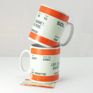 'Life is a Journey' Train Ticket Mug-Of Life & Lemons®
