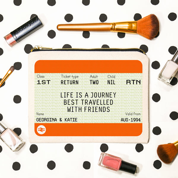 Personalised Ticket Make Up Bag Gift for Friends