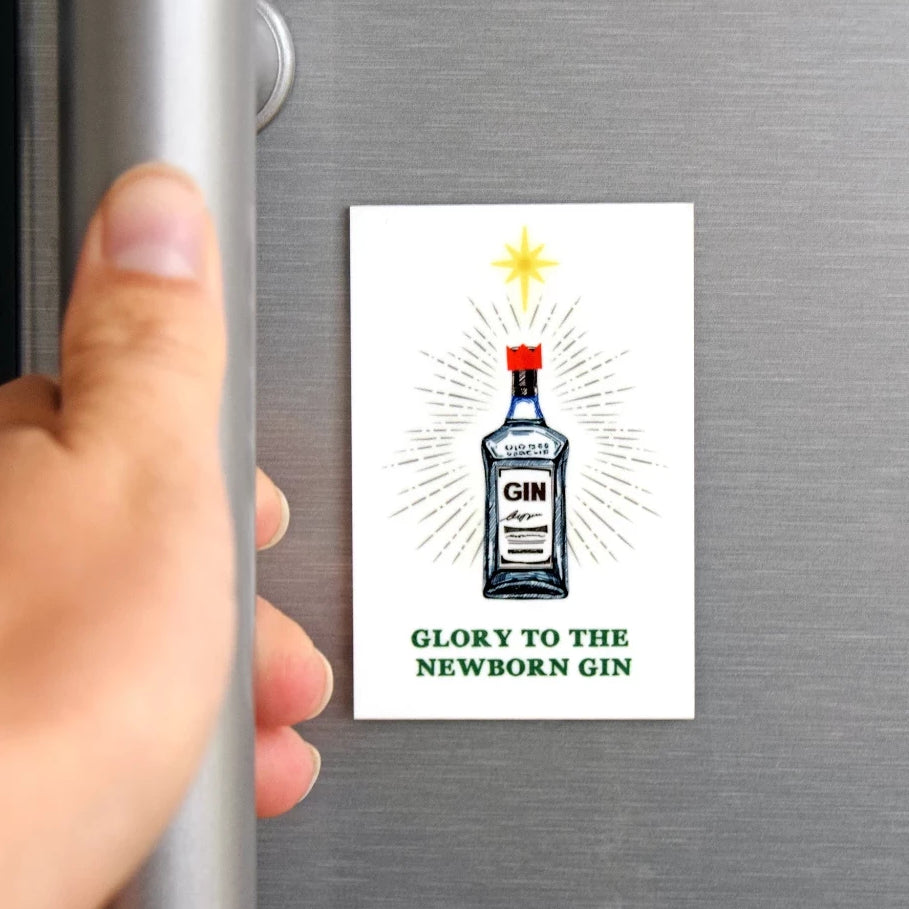 'Glory To the Newborn Gin' Funny Christmas Fridge Magnet-Of Life & Lemons®