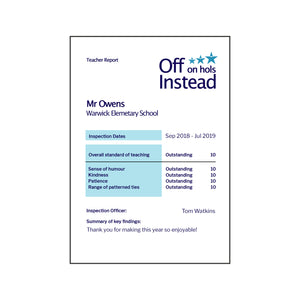 Personalised Report Style Teacher Card-A4 Print-Of Life & Lemons®