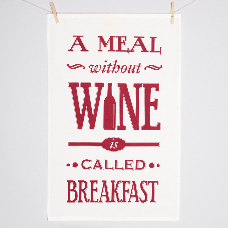 'A Meal Without Wine' Typographic Tea Towel-Tea Towel-Of Life & Lemons®
