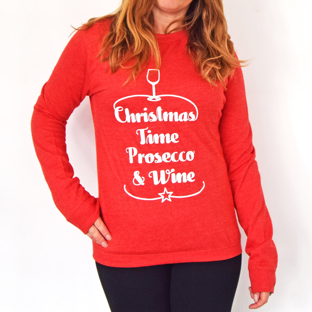 'Prosecco & Wine' Unisex Christmas Jumper-Tote Bag-Of Life & Lemons®
