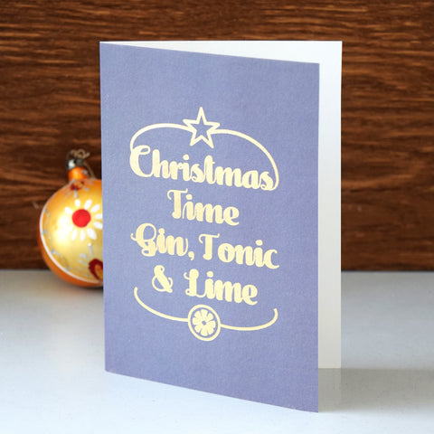 Luxury Foiled 'Gin & Tonic' Christmas Card