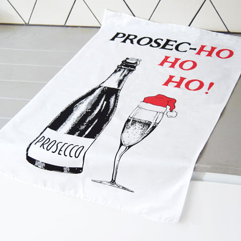 'Prosec-hohoho' Christmas Tea Towel