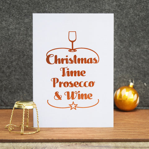 Luxury Foiled 'Prosecco & Wine' Christmas Card