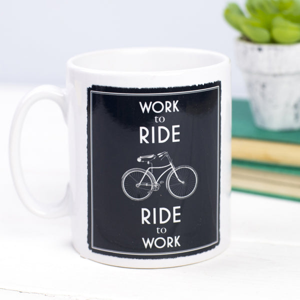 'Work to Ride' Bicycle Mug