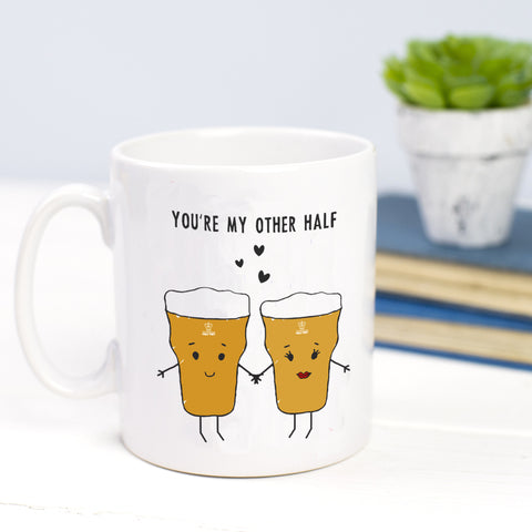 'My Other Half' Beer Mug