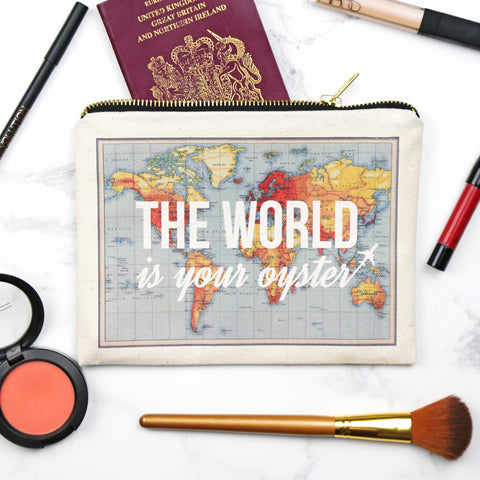 'World is Your Oyster' Make Up Bag-Tote Bag-Of Life & Lemons®