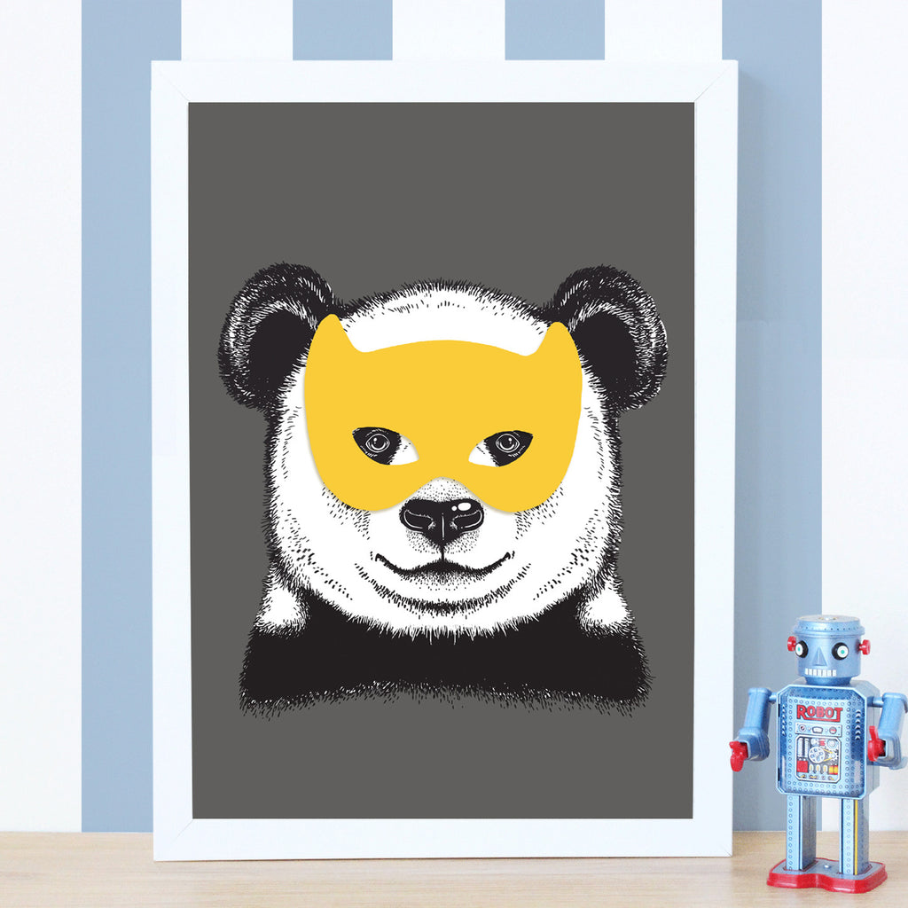 Superhero Panda Bear Print-A4 Print-Of Life & Lemons®