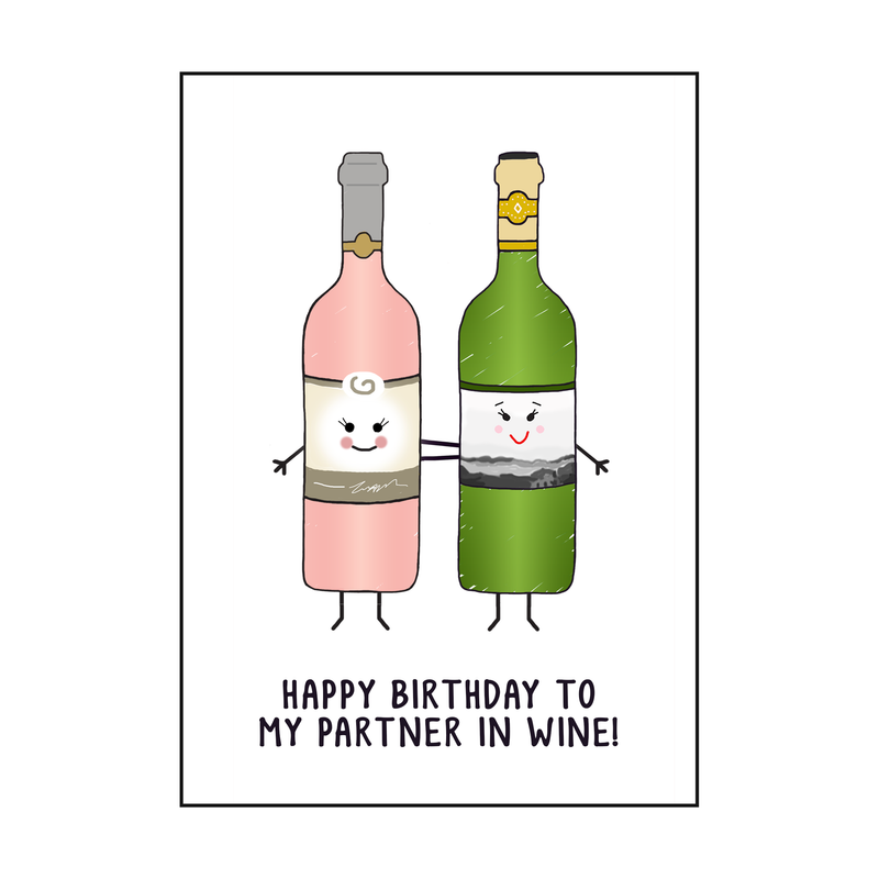 'Partners In Wine' Birthday Card
