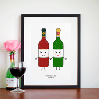 'Partners in Wine' Personalised Friendship Print-A4 Print-Of Life & Lemons®
