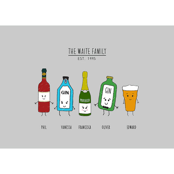 Personalised Family Drinks Print-A4 Print-Of Life & Lemons®