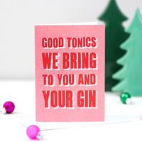 'Good Tonics We Bring' Typographic Christmas Card-A4 Print-Of Life & Lemons®