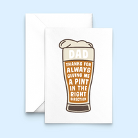 'Pint in the right direction' card for Dad