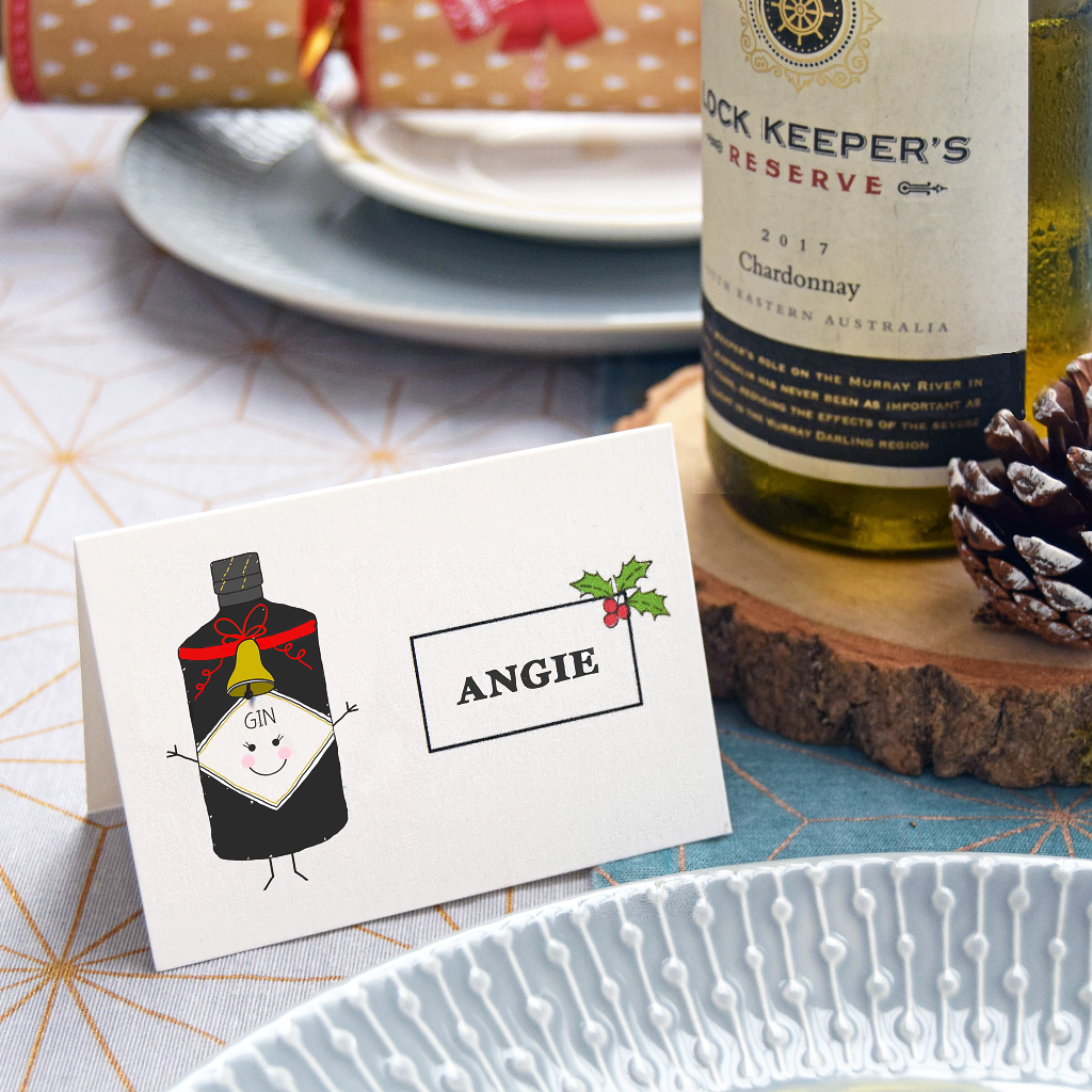 Personalised Drinks Christmas Place Settings-A4 Print-Of Life & Lemons®