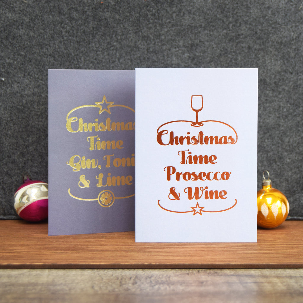DISCONTINUED - Luxury Foiled 'Prosecco & Wine' Christmas Card-A4 Print-Of Life & Lemons®