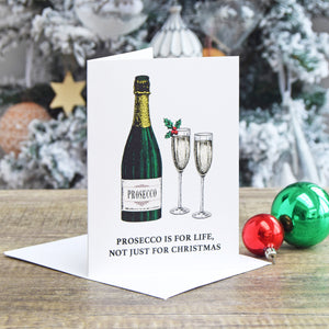 'Prosecco is for Life' Prosecco Christmas Card-A4 Print-Of Life & Lemons®