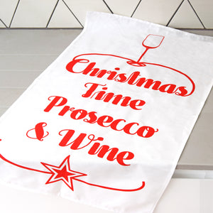 'Prosecco & Wine' Christmas Tea Towel-Tea Towel-Of Life & Lemons®