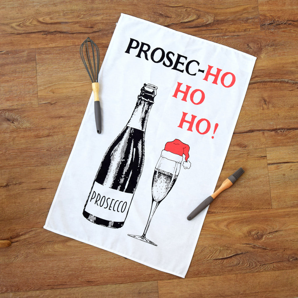 'Prosec-hohoho' Christmas Tea Towel-Tea Towel-Of Life & Lemons®