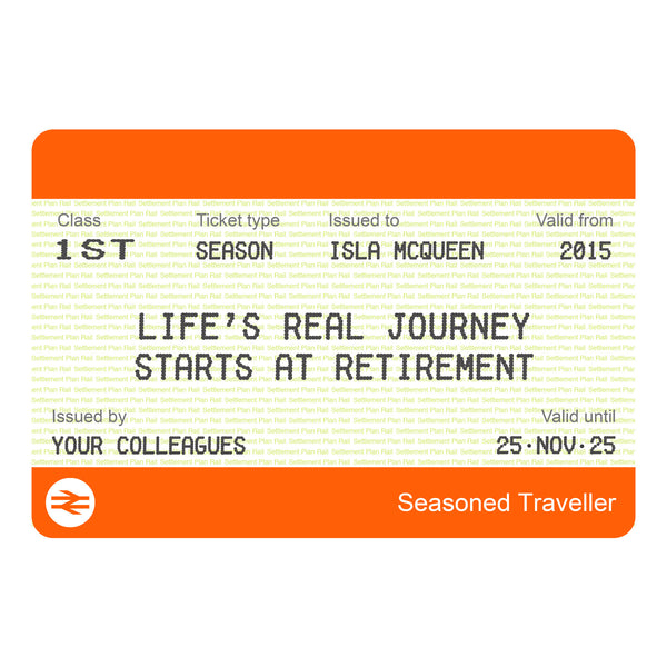 Personalised Train Ticket Retirement Print