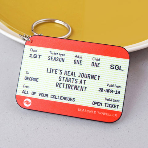 Personalised Train Ticket Retirement Keyring