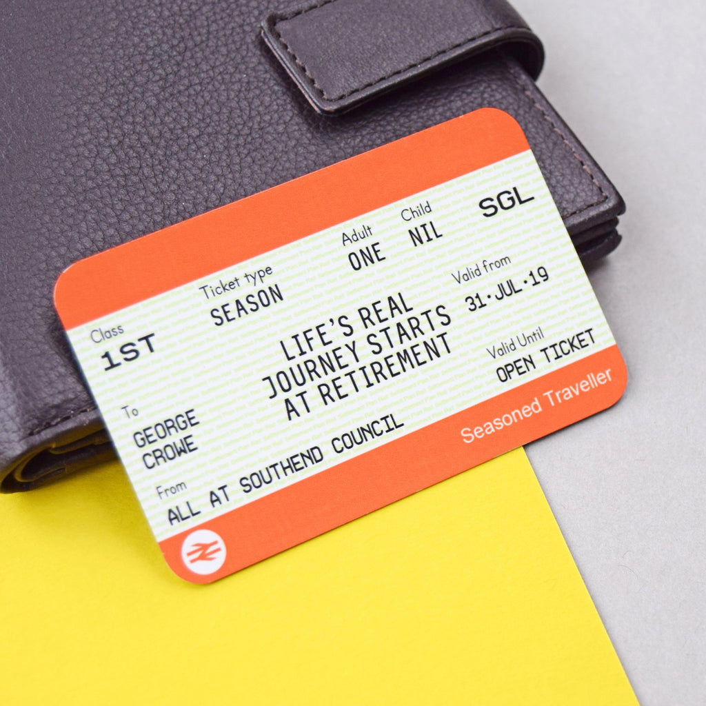 Personalised Retirement Train Ticket Wallet Keepsake-Keyring-Of Life & Lemons®