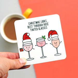 Funny Wine Christmas Coaster-coaster-Of Life & Lemons®