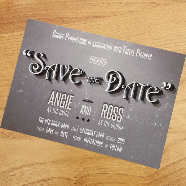 Vintage Movie Save the Date Cards
