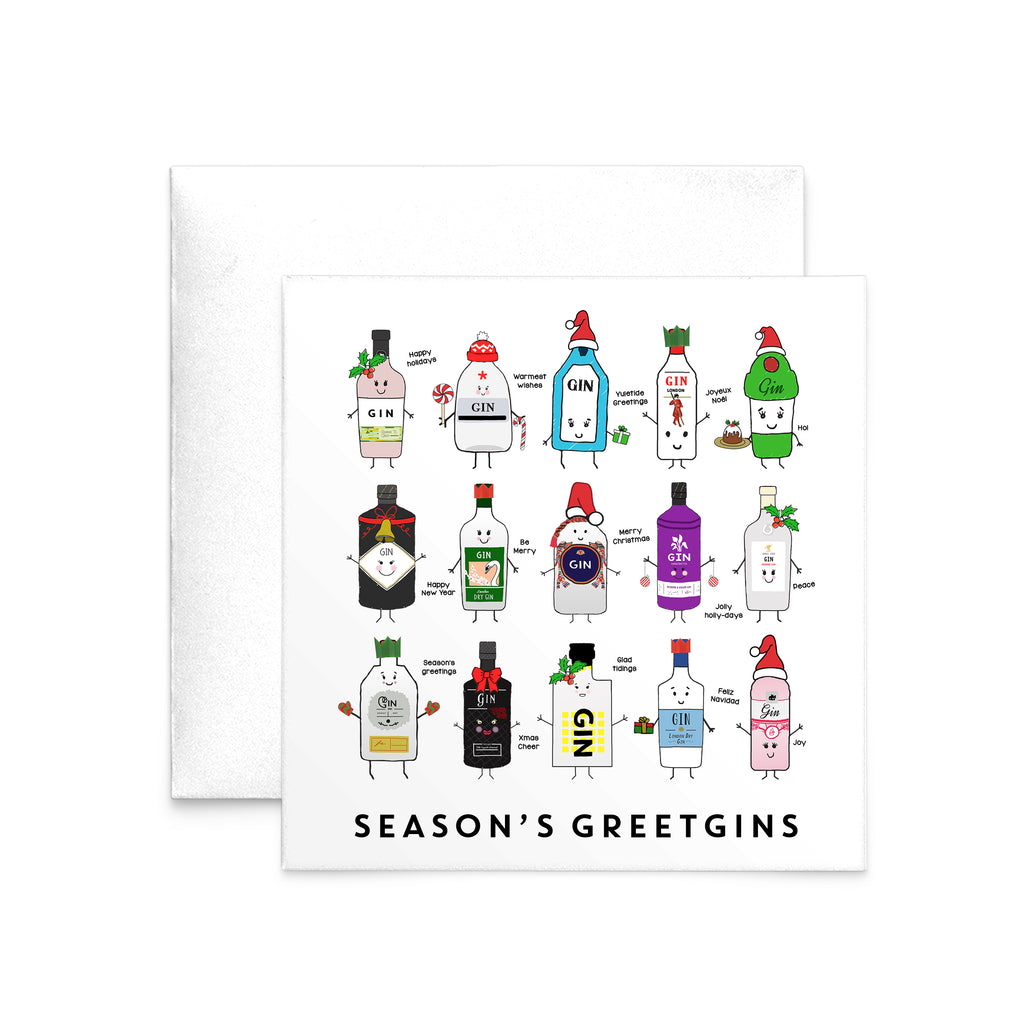 'Season's Greetgins' Funny Gin Christmas Card-A4 Print-Of Life & Lemons®