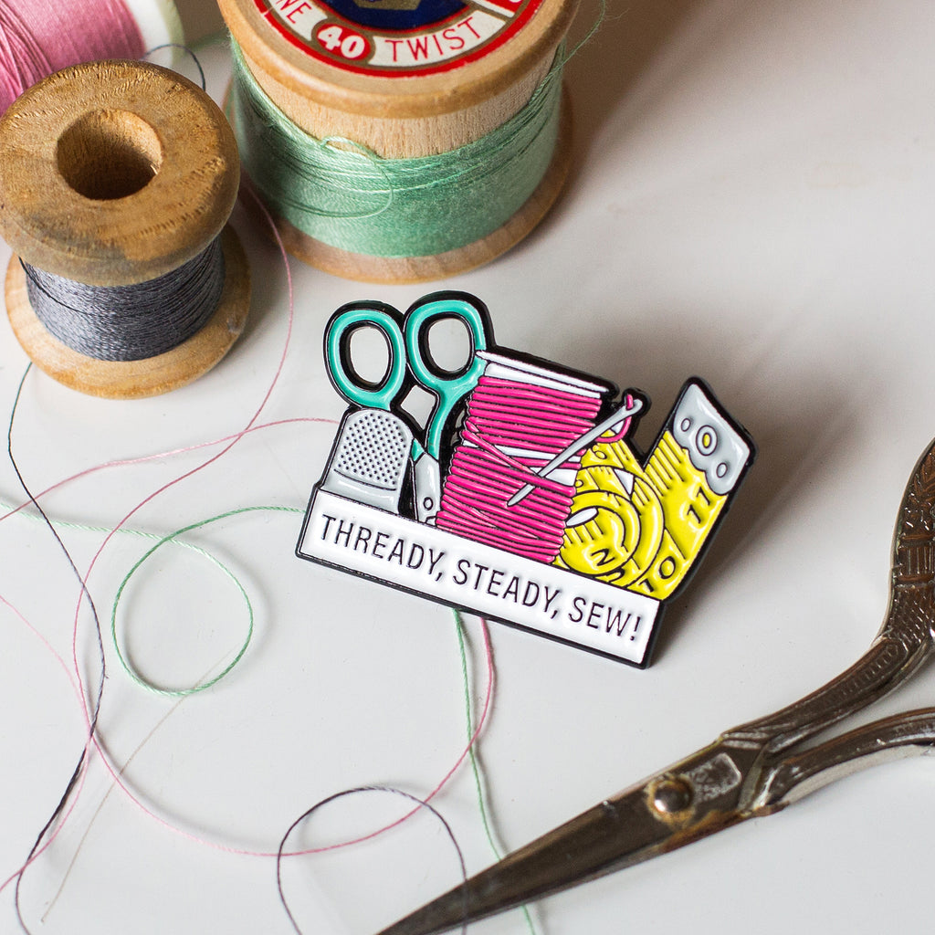'Thready, Steady, Sew!' Enamel Pin Badge