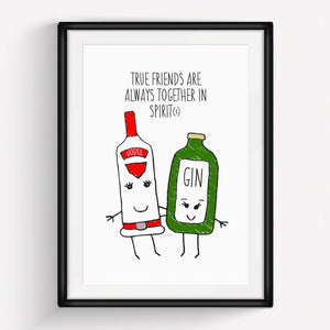 'Together in Spirit' Gin Friendship Print-A4 Print-Of Life & Lemons®