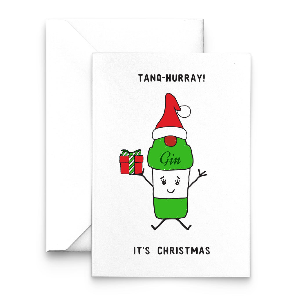 'Tanq-Hurray!' Funny Gin Christmas Card-A4 Print-Of Life & Lemons®