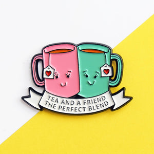 'Tea and a Friend' Enamel Pin Badge-Of Life & Lemons®
