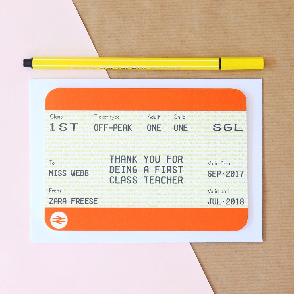 Personalised Train Ticket Card for Teacher-Of Life & Lemons®