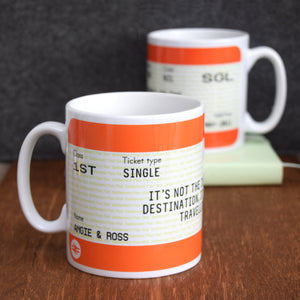 Personalised Train Ticket Mug