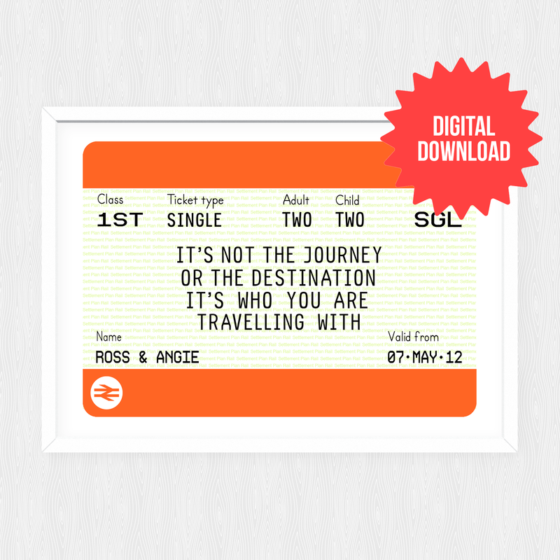 Personalised Train Ticket Print *DIGITAL DOWNLOAD*