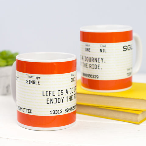 'Life is a Journey' Train Ticket Mug
