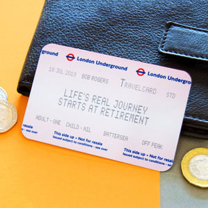 Personalised London Underground Retirement Ticket Keepsake-Keyring-Of Life & Lemons®