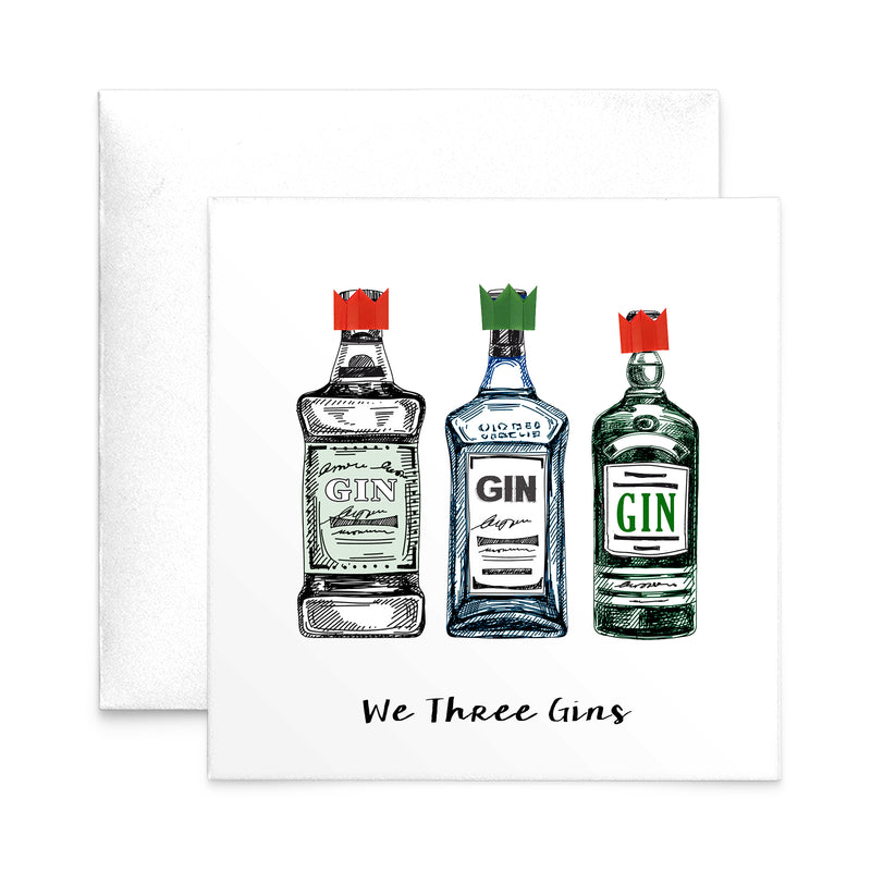'We Three Gins' Christmas Card-A4 Print-Of Life & Lemons®