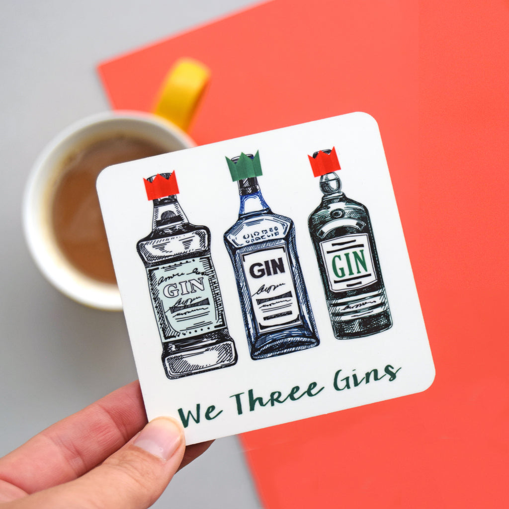'We Three Gins' Christmas Coaster-coaster-Of Life & Lemons®