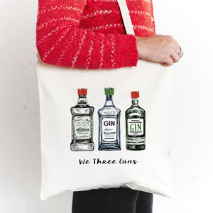 'We Three Gins' Christmas Tote Bag-Tote Bag-Of Life & Lemons®