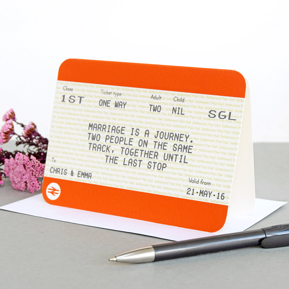 Personalised Train Ticket Wedding Card-Of Life & Lemons®
