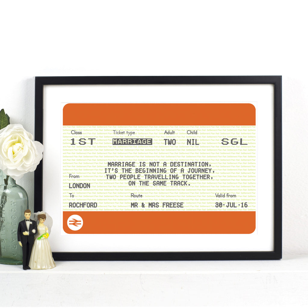 Personalised Train Ticket Wedding Print-A4 Print-Of Life & Lemons®