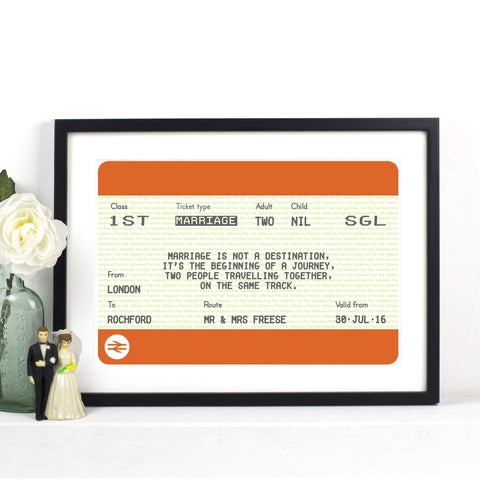 Personalised Train Ticket Wedding Print