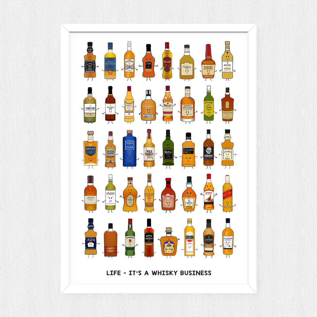 'Whisky Business' Illustrated Whisky Print