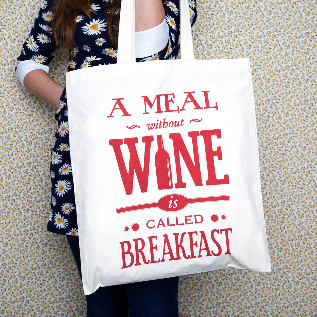 'A Meal Without Wine..' Tote Bag-Tote Bag-Of Life & Lemons®
