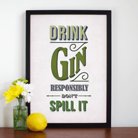 'Drink Gin Responsibly' Print-A4 Print-Of Life & Lemons®